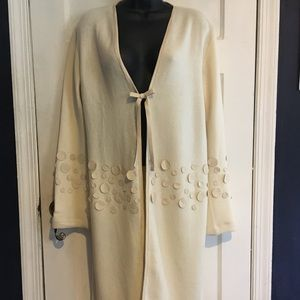 Andrea Roseti Wool Duster with Leather Accents